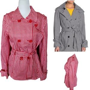 Ellen Tracy | Red Gingham Hip Length Light Trench
